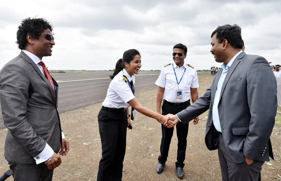 Pilots welcomed by Deputy Commissioner at Kalaburagi Airport