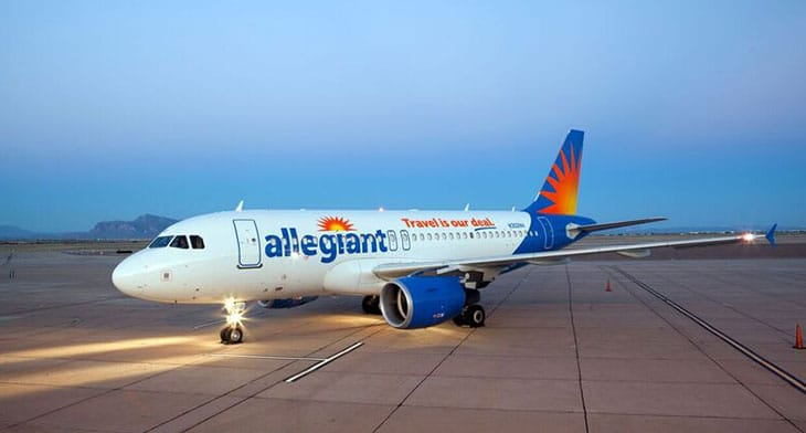 Allegiant aircraft on the runway
