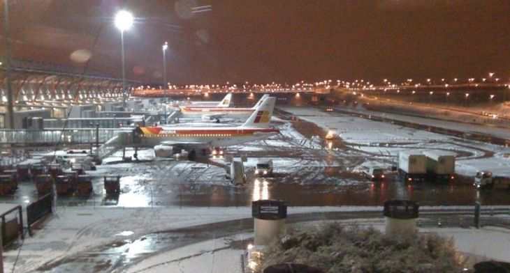 Madrid Airport reopens after temporary closure following snowstorm Filomena
